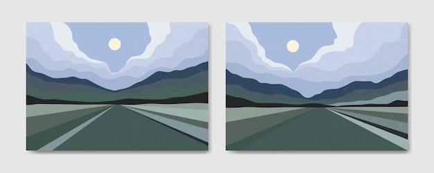 Ensemble de deux affiches boho contemporaines de paysage moderne de milieu de siècle esthétique abstraite