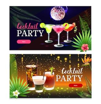 Ensemble de deux bannières de cocktail de fête horizontale
