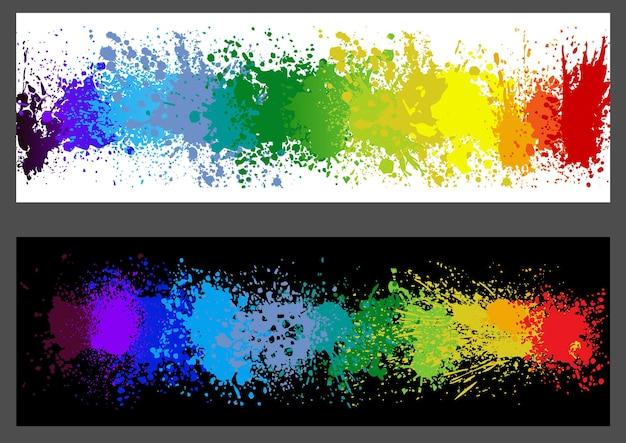 Ensemble de deux bannières avec des éclaboussures colorées