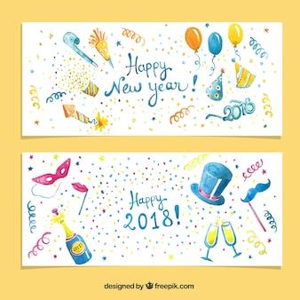 Ensemble de deux bannières de fête aquarelle nouvel an