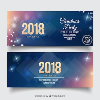 Ensemble de deux bannières de fête scintillante de nouvel an