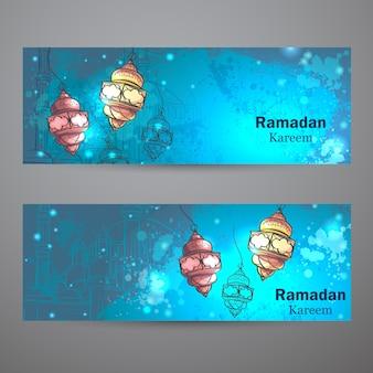 Ensemble de deux bannières horizontales pour le ramadan kareem. lampes pour le ramadan
