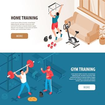 Ensemble de deux bannières de sport fitness isométrique isolés