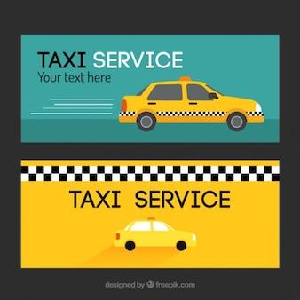Ensemble de deux bannières avec le taxi