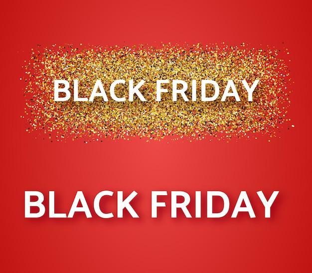 Ensemble de deux bannières de vente du vendredi noir. texte blanc avec ombre sur fond rouge. illustration vectorielle