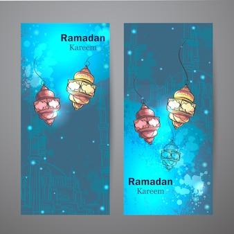 Ensemble de deux bannières verticales pour le ramadan kareem. lampes pour le ramadan