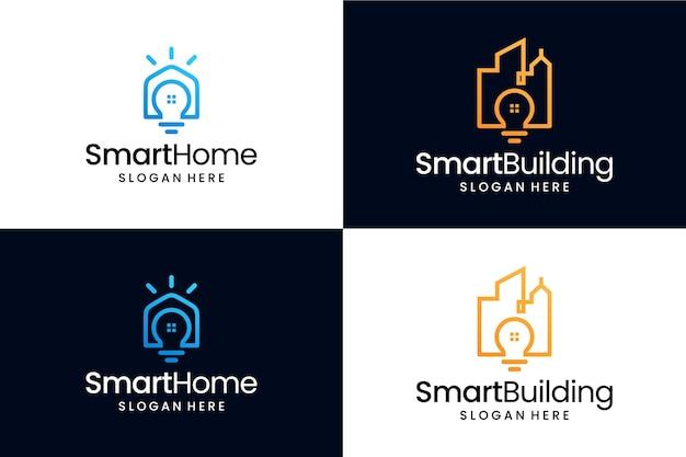 Ensemble de deux bâtiments intelligents et maison intelligente