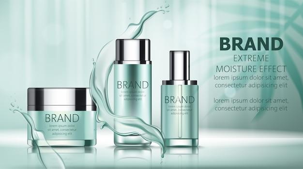 Ensemble de deux bouteilles et une boîte avec des produits cosmétiques avec place pour le texte entouré de lignes d'eau