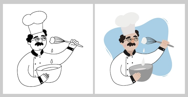 Ensemble de deux chefs ou boulangers cuisinant