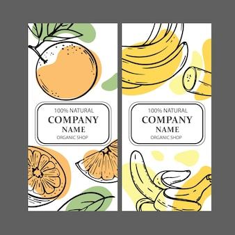 Ensemble de deux conceptions de magasins biologiques avec des modèles de croquis de fruits