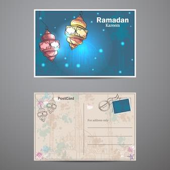 Un ensemble de deux faces d'une carte postale au ramadan kareem. lampes pour le ramadan