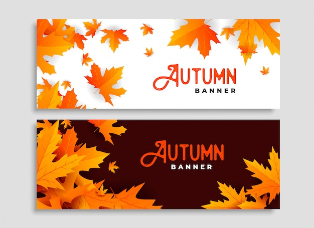 Ensemble de deux feuilles d'automne design de bannières saisonnières