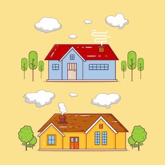 Ensemble de deux illustration de bâtiments de maison