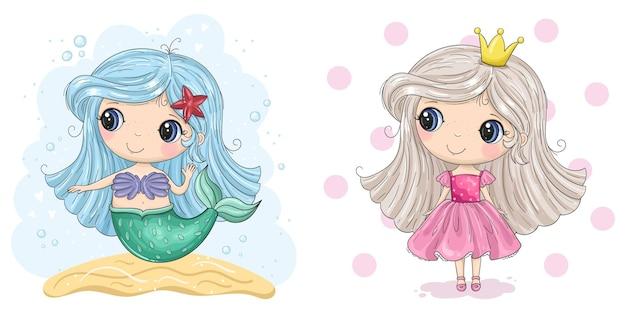 Ensemble de deux personnages princesse et sirène