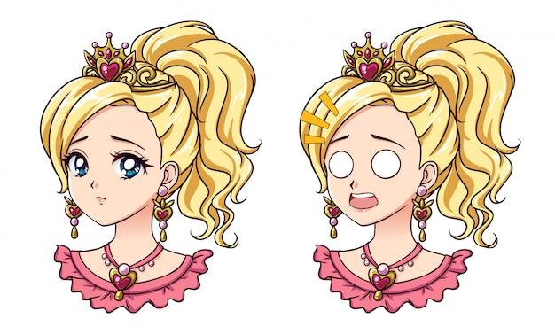 Ensemble de deux portraits de princesse anime mignons. deux expressions différentes. illustration vectorielle dessinés à la main de style anime rétro des années 90. isolé.