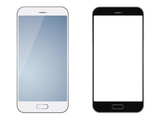 Ensemble de deux smartphones isolés