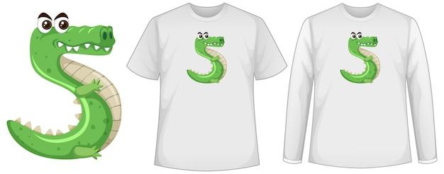 Ensemble de deux types de chemise avec crocodile en écran de forme numéro cinq sur des t-shirts