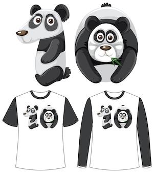 Ensemble de deux types de chemise avec panda en écran de forme numéro dix sur des t-shirts