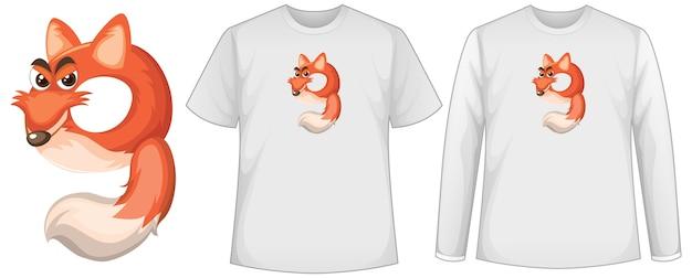 Ensemble de deux types de chemise avec renard en écran de forme numéro neuf sur des t-shirts