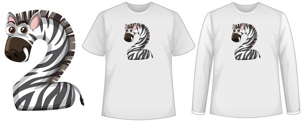 Ensemble de deux types de chemise avec zèbre en écran de forme numéro deux sur des t-shirts