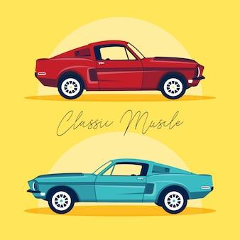 Ensemble de deux vieilles voitures classiques isolés dans un style plat