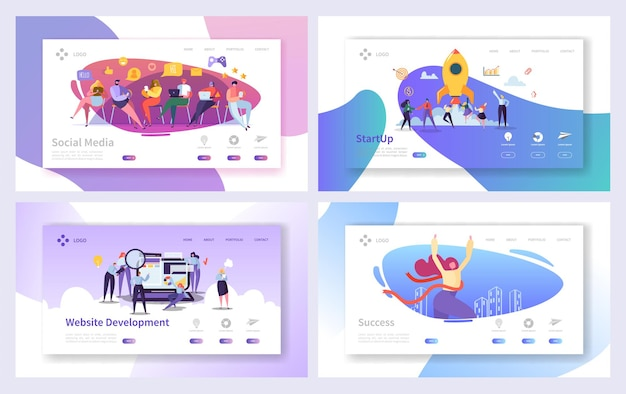 Ensemble de développement de page de destination marketing de démarrage d'entreprise.