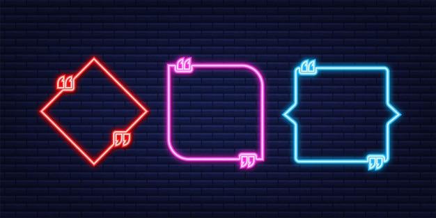 Ensemble de devis. boîte de citation de néon de vecteur, brillant sur fond bleu. illustration vectorielle.