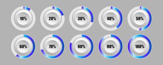 Ensemble de diagrammes de bouton rond de barre de progression de pourcentage de cercle pour infographie