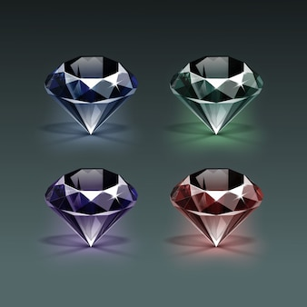 Ensemble de diamants de couleur bleu foncé violet vert et rouge brillant clair isolé sur foncé