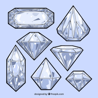 Ensemble de diamants dessinés à la main