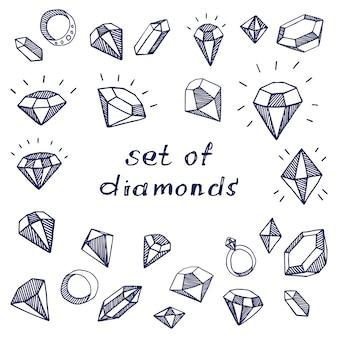 Un ensemble de diamants graphiques et de pierres précieuses