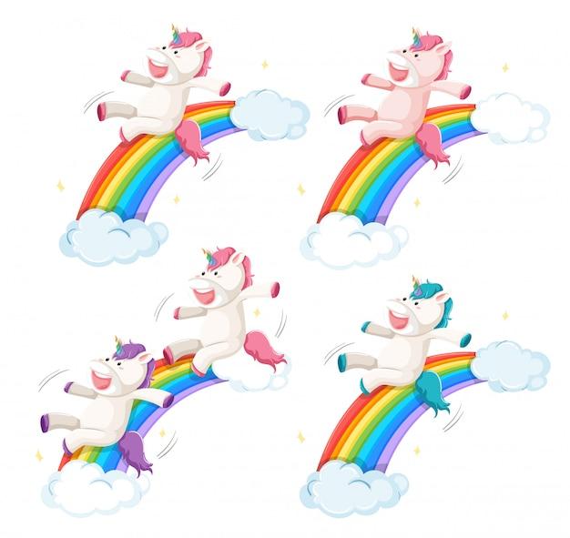 Ensemble de diapositive licorne heureux sur l'arc-en-ciel