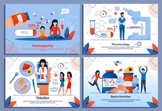 Ensemble de diapositives sur la pharmacologie, l'homéopathie et l'alimentation