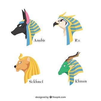 Ensemble de dieux et symboles égypte