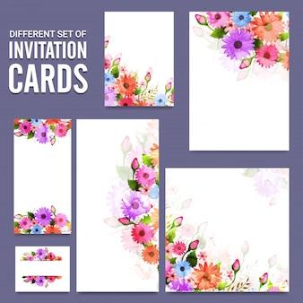 Ensemble différent de cartes d'invitation avec des fleurs.
