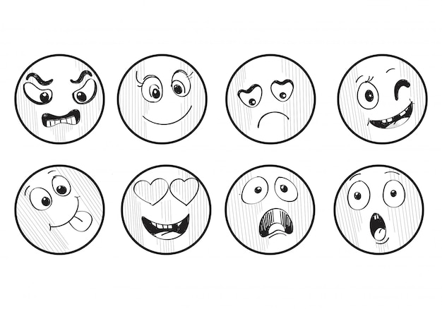 Ensemble différent de croquis de smileys dessinés à la main
