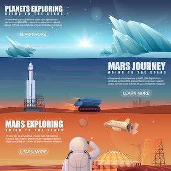 Ensemble de différentes bannières dédiées aux planètes extraterrestres, à l'exploration de mars, au vol spatial, à l'exploration spatiale, à la colonisation misson.