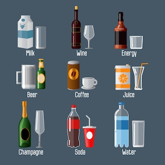 Ensemble de différentes boissons dans ware