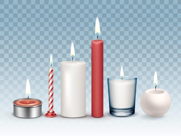Ensemble de différentes bougies blanches et rouges brûlant réalistes