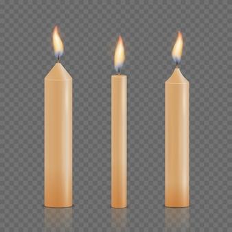 Ensemble de différentes bougies rougeoyantes réalistes de noël, anniversaire, église et fête