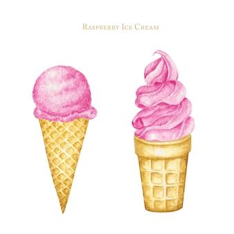 Ensemble de différentes boules de crème glacée rose en cornet gaufré. illustration aquarelle dessinée à la main isolée.