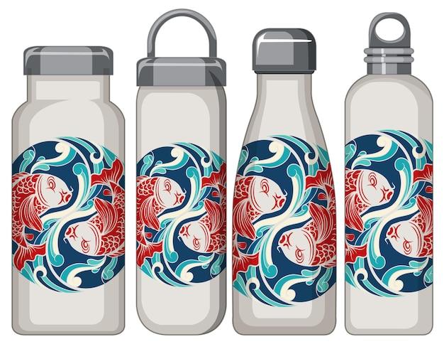 Ensemble de différentes bouteilles thermos blanches motif carpe koi