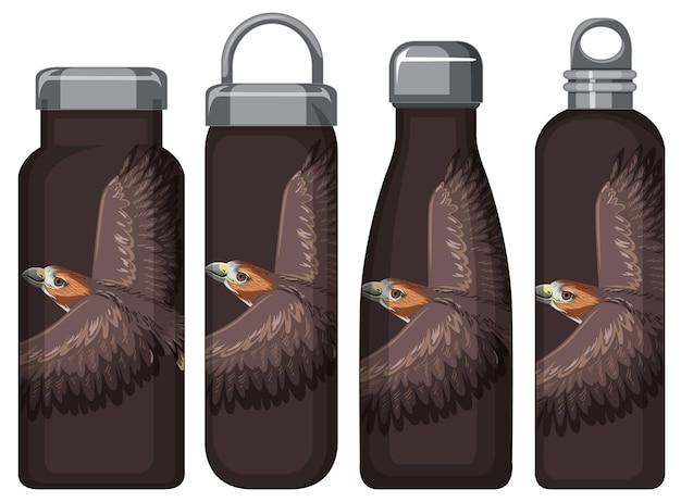 Ensemble de différentes bouteilles thermos marron avec motif faucon