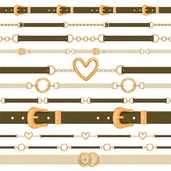 Ensemble de différentes ceintures en cuir sans couture isolés sur fond blanc