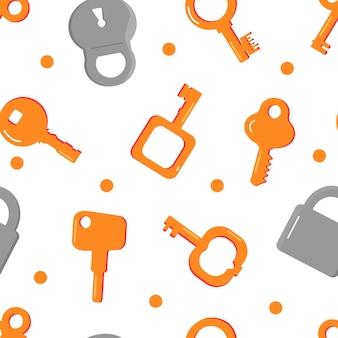 Un ensemble de différentes clés jaunes et serrures grises. modèle sans couture.