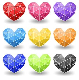 Ensemble de différentes couleurs de coeur géométrique