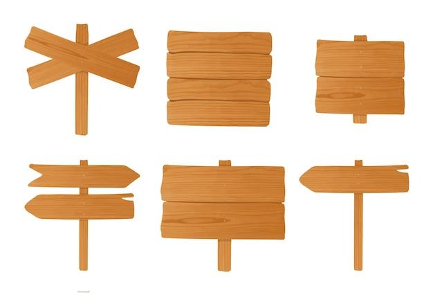 Ensemble de différentes enseignes en bois, pointeurs. collection de panneaux de signalisation vides colorés. illustration vectorielle en style cartoon.