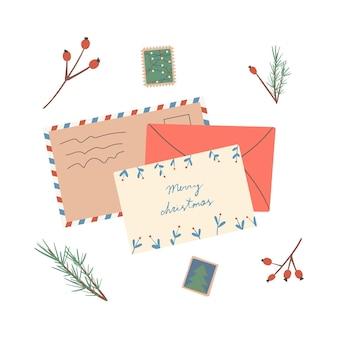 Ensemble de différentes enveloppes de noël avec des timbres-poste et des colis de cartes postales