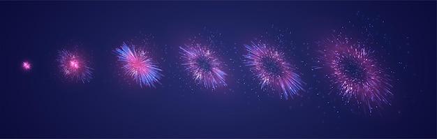 Ensemble de différentes étapes d'une explosion de feu d'artifice sur fond violet foncé