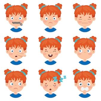 Ensemble de différentes expressions d'enfants